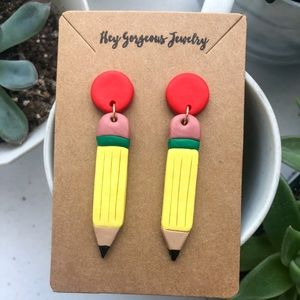 Polymer clay pencil earrings